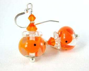 Fish Bowl Earrings, Goldfish Earrings, Glass Aquarium Earrings, Lampwork Earrings Orange Earrings Fish Animal Earrings Fun Whimsical Jewlery