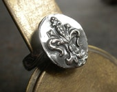 Fleur de Lis Ring Silver Wax Seal Jewelry
