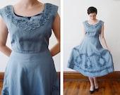 1950s Blue Taffeta Party Dress - S/M