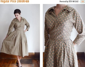 SUMMER SALE 1950s Handmade Brown Patterned Dress - M