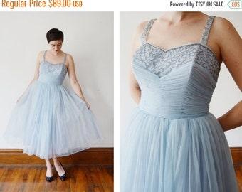 SUMMER SALE 1950s Pale Blue Beaded Party Dress - M