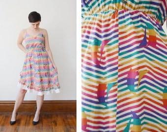 1970s Striped Sundress with a Ruffle Hem - S/M