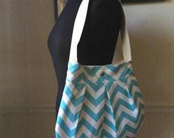 black friday 20% off // blue chevron shoulder bag // medium pleated purse with heavy shap closure // the charlie bag // READY TO SHIP
