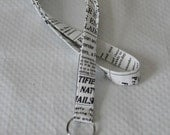 Black White Lanyard / Newsprint Lanyard / Key Lanyard / ID Badge Holder / Newsprint Keychain Lanyard  / Teacher Lanyard / Nurse Lanyards
