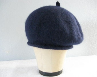 Navy Blue Beret. Angora and Wool. Hand Knit Hat. Classic Accessories.