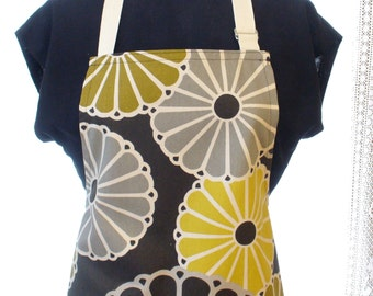 Parasol Floral Womens Apron Full Apron Chefs Apron Adjustable Apron Gray Yellow Gold Brown Pinwheel Daisy Daisies Handmade MTO