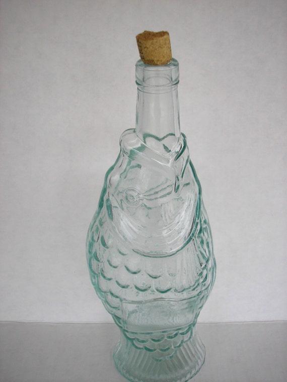 Vintage wine bottle green glass fish wine bottle spain wine for Green glass wine bottles