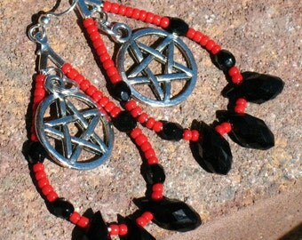 Black and Red Pentacle Dangle Earrings