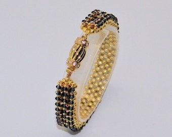 Swarovski crystal bracelet, gold bracelet,seed bead jewelry, Beadweaving Bracelet,Hand Stiched,Cuff Bracelet
