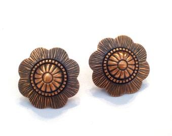 Copper Floral Earrings, Vintage Copper Earrings, Copper Screwback Earrings, Southwestern Earrings, Copper Jewellery, Copper Flower Earrings