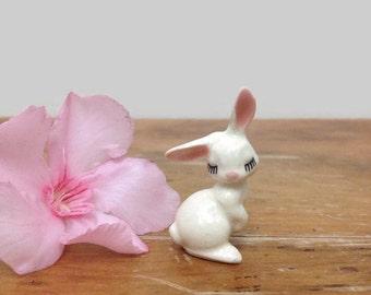 Vintage Miniature Bunny Rabbit - Hagen Renaker Ceramic Animal - Shy Flirty Rabbit Figurine