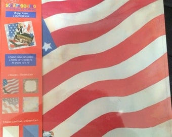 "Scrapbook Paper, Combo, American Celebration, 12 sheets,  New sealed package, 12""x12""."