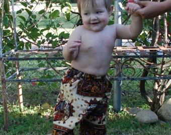 Hippie Kids pants -Black Red Elephant - size 1 -Boys or Girls- Read measurements