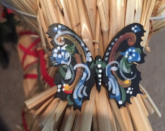 Norwegian rosemaled butterfly pin or magnet choice of style