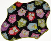 Heavy Hemp Core- Sleepy Owls Reusable Cloth Pantyliner Pad- WindPro Fleece- 8.5 Inches