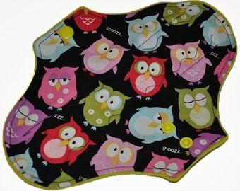 Heavy Hemp Core- Sleepy Owls Reusable Cloth Pantyliner Pad- WindPro Fleece- 8.5 Inches
