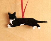 Ceramic TUXEDO CAT Ornament - Handmade Stoneware B&W Cat Ornament - Christmas Holiday Decoration - Ready To Ship