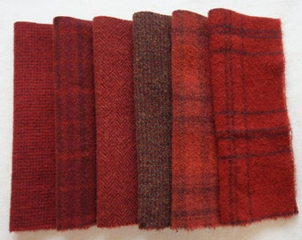 Primitive Red - Hand Dyed Felted Wool Fabrics Perfect for Rug Hooking and Applique