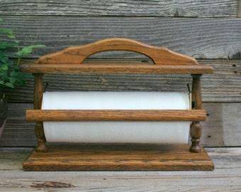 Vintage Wood / Oak Paper Towel Holder / Dispenser