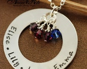 ON SALE Hand Stamped Jewelry - Personalized Necklace - Pearl & Crystals, Sterling Silver, Circle of Love