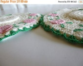 CLEARANCE 70% OFF Two Vintage Hand Crochet Green White Pink Hat Pot Holders