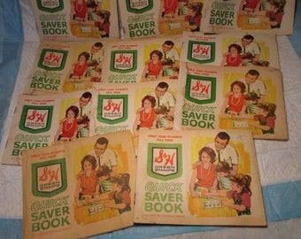 Lot of 11 Vintage S&H Green Trading Stamps Quick Saver Books mid century store
