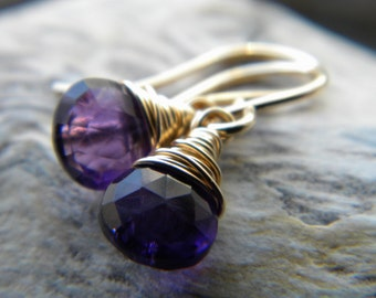 Purple amethyst handmade earrings - February birthstone - gold filled gemstone wire wrapped jewelry
