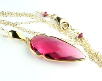Pink Tourmaline color faceted quartz arrowhead pendant necklace gold filled chain 24 inches long gift idea for her, long necklace by art4ear
