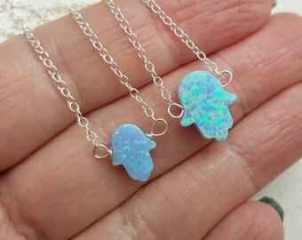 Silver Opal hamsa necklace  ,Hamsa Necklace , Hand necklace, Protection Necklace , Opal Necklace hand amulet