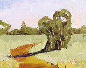 Impressionist Plein Air Painting CALIFORNIA Eucalyptus Country Road Landscape Art 16x20 Lynne French