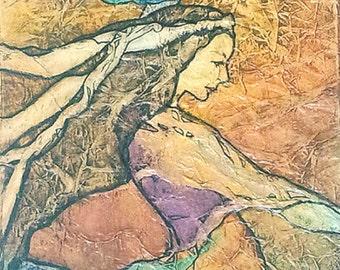 Print GYPSY Dance ZEN Inspired Watercolor on Tissue ART Bohemian Goddess Portrait Lynne French
