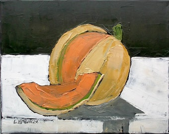 Impressionist Painting Lynne French Summer Garden CANTALOUPE Fruit Art 11x14