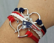 NFL New England Patriots Multistrand Friendship Infinity Charm Bracelet Sports Football Team