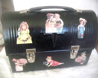 Vintage metal lunch pail, black lunch pail, old fashioned lunch pail, decoupaged pail, kids room decor, supply holder, portable supply pail