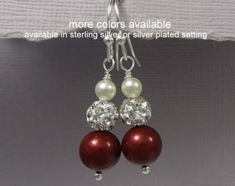 Ivory and Wine Red Pearl Earrings, Sangria / Bordeaux Pearl Bridesmaid Earrings, Will You Be My Bridesmaid Gift Earrings, Wedding Earrings