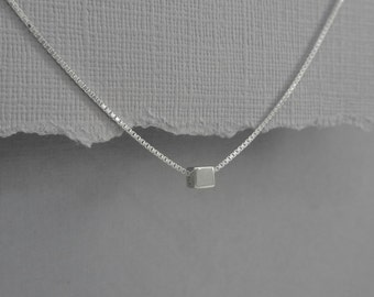 Sterling Silver Cube Necklace, Everyday Necklace, Tiny Cube Layering Necklace, Choker Necklace, Gift for Her Girlfriend Gift Casual Necklace