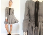 STORE SALE Vintage 70s Houndstooth Ascot Lace School Girl Mini Dress