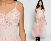 Pink Lingerie SHEER Nightgown Lingerie 70s Lace Slip Dress Long Maxi Bohemian PLEATED 1970s Vintage Boho Pastel Romantic Medium