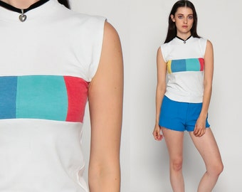 80s Tank Top Color Block Geometric HIGH NECK Shirt Muscle Tee Grunge Blouse 1980s Sleeveless Retro White Red Blue Yellow Extra Small xs