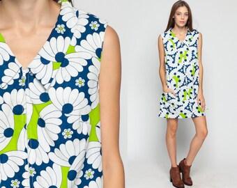 Flower Power Dress Mod Mini FLORAL Print 60s Shift Pocket 70s Hippie Front Zip Vintage White Daisy Op Art Blue Sleeveless Extra Large xl