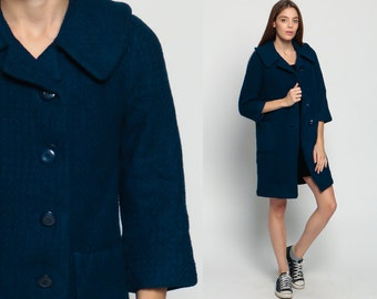 60s Coat Mod Jacket Swing PETER PAN Collar Trapeze Jackie O Mad Men Navy Blue Babydoll 1960s Knit Winter Twiggy extra Small xs