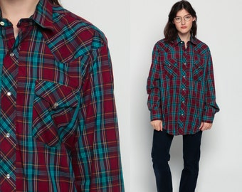Pearl Snap Shirt 70s Western Plaid Top 1970s Vintage Hipster Checkered Red Turquoise Button Up Long Sleeve Flannel Burgundy Extra Large Xl