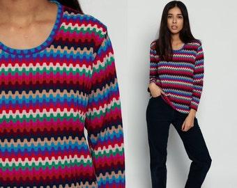 70s Top Rainbow Shirt Striped ZIG ZAG Retro Shirt Mod Top Long Sleeve Shirt Tee Hipster Tshirt Vintage 80s Pink Blue Green Medium Large