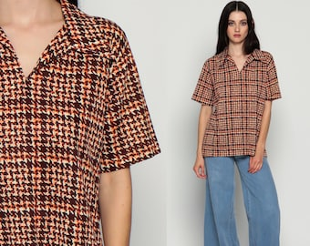 Plaid Blouse 70s Shirt Checkered Print Grandpa Preppy Collared Boho 1970s Top Short Sleeve Vintage Short Sleeve Hipster Orange Brown Large