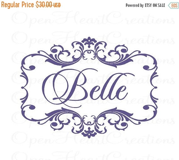 ON SALE Name and Initial Vinyl Wall Monogram Decal with Elegant Damask Shabby Chic Frame Border 22H x 30W Fn0355