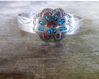 Vintage HMIJ Ortega Sterling with Inlaid Turquoise & Coral Cuff Bracelet