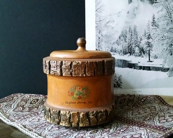 Vintage Natural Tree Bark Box Round Wood Bowl Lid Rustic Decor
