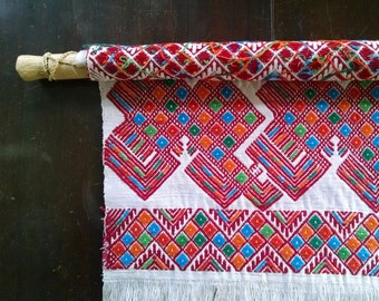 Vintage Folk Art Weaving Hand Woven Wall Hanging Fiber Textile