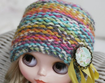 12'' Blythe Licca, Azone S, Pullip Doll Clothes - Hat  with Brooch multicolor orange-yellow-blue-green