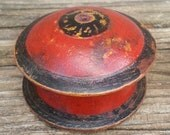 Vintage Hand Painted Red and Black Wooden Spice Box from Afghanistan Small